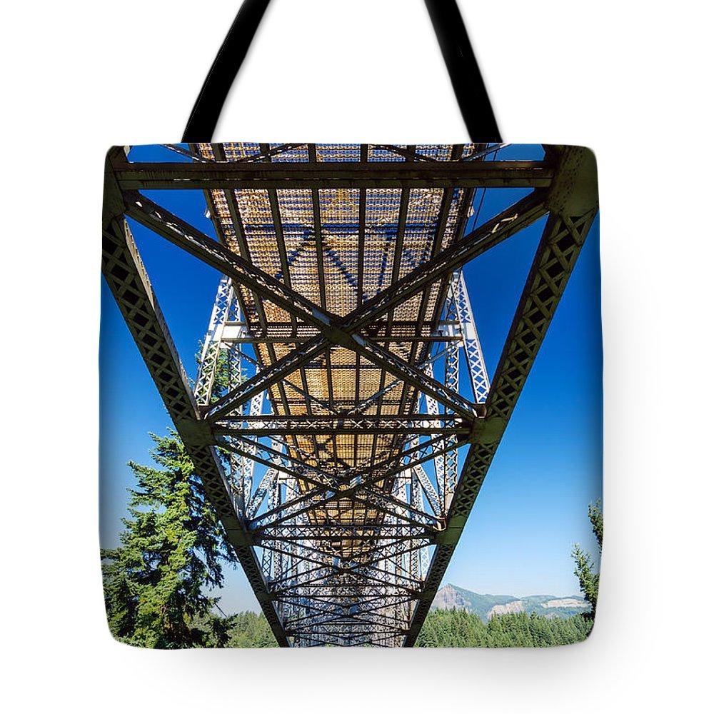 Bridge Tote Bag featuring the photograph Below A Bridge by Jess Kraft