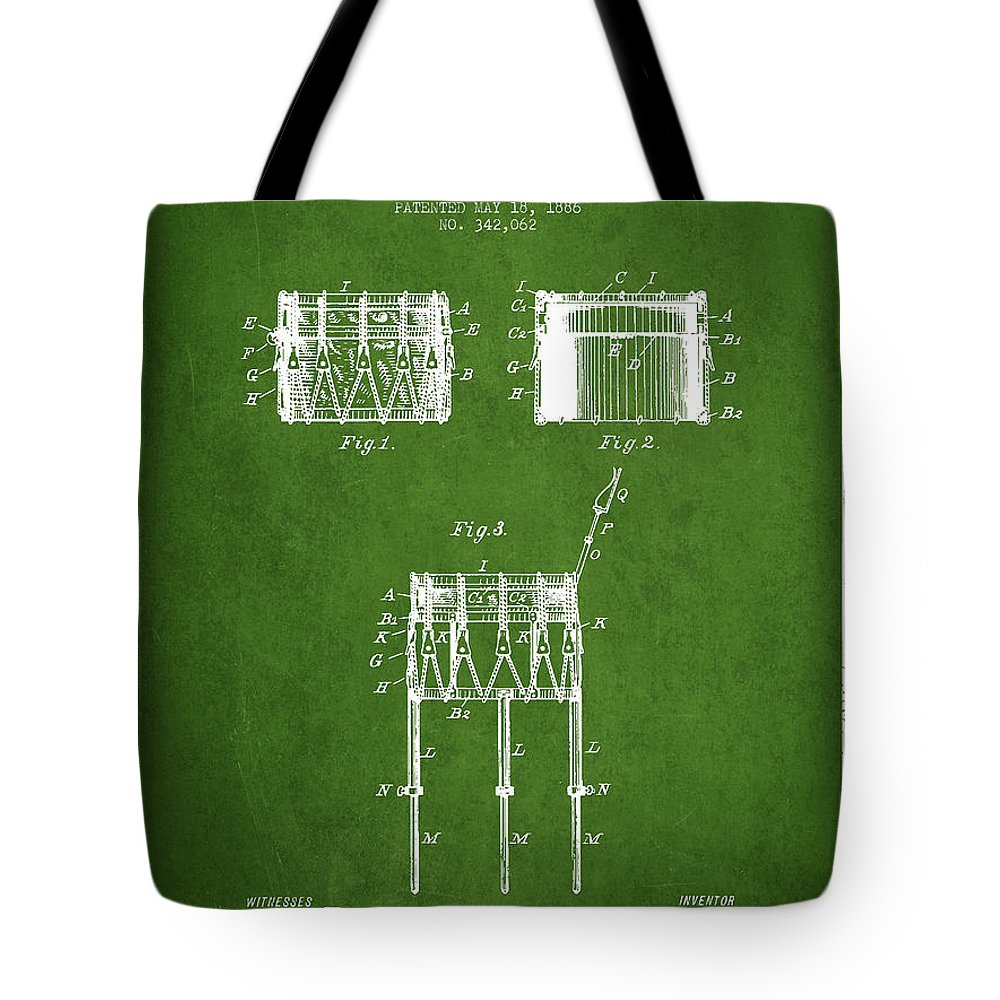 Snare Drum Tote Bag featuring the digital art Bemis Snare Drum Patent Drawing From 1886 - Green by Aged Pixel