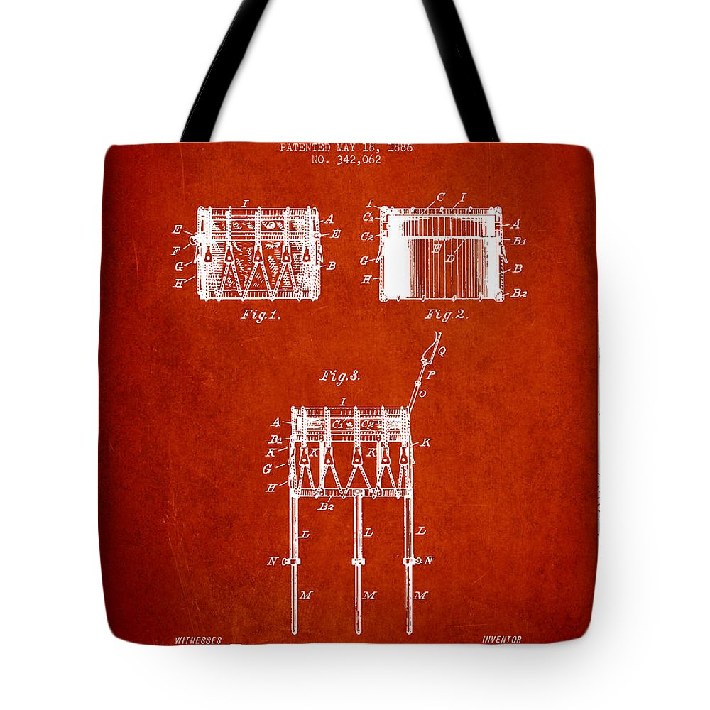 Snare Drum Tote Bag featuring the digital art Bemis Snare Drum Patent Drawing From 1886 - Red by Aged Pixel