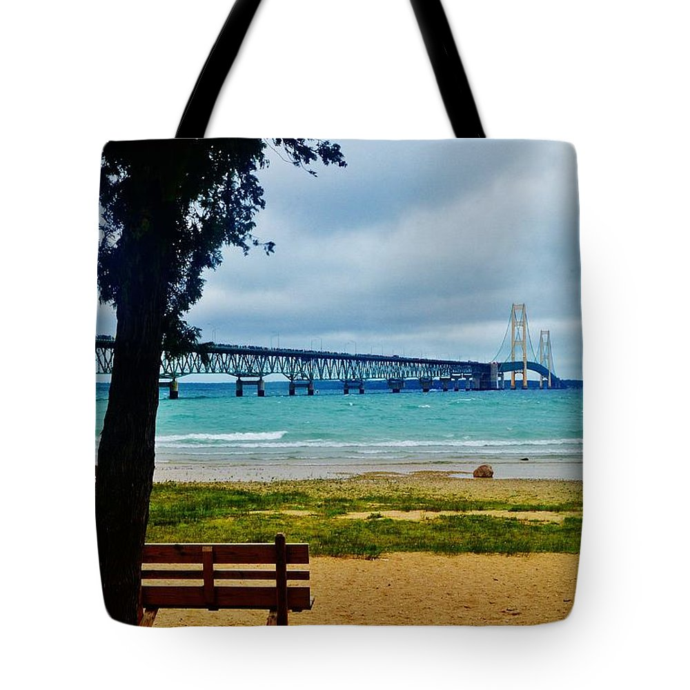 Tote Bag featuring the photograph Bench And A Big Mac by Daniel Thompson