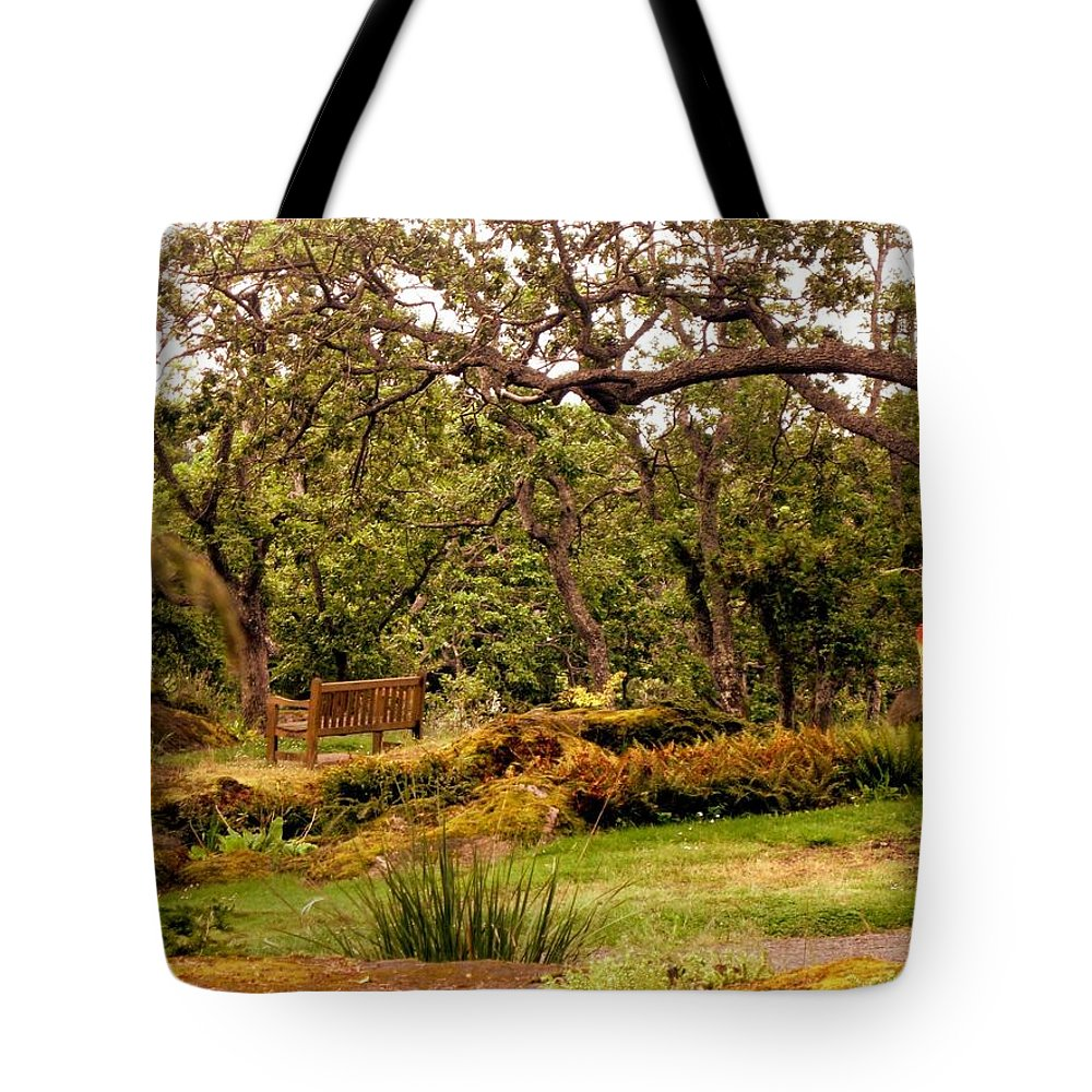 Bench Tote Bag featuring the photograph Bench In The Garden by Lena Photo Art