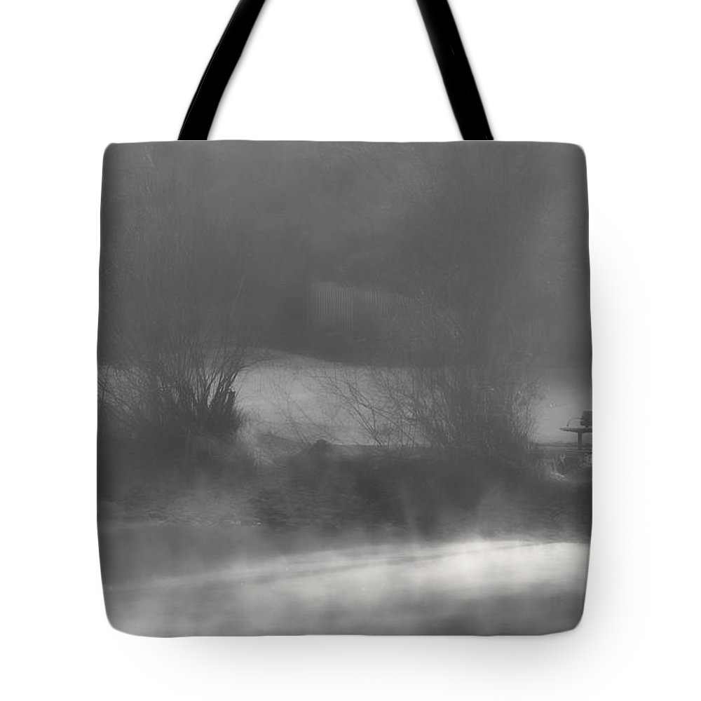 Bench Tote Bag featuring the photograph Bench In The Mist by Don Schwartz