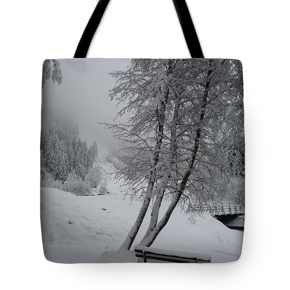 Bench Tote Bag featuring the photograph Bench In The Snow by Christiane Schulze Art And Photography