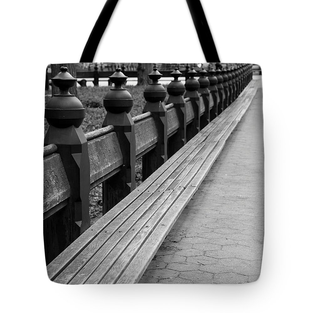 Bench Row Tote Bag featuring the photograph Bench Row Black And White by Christiane Schulze Art And Photography