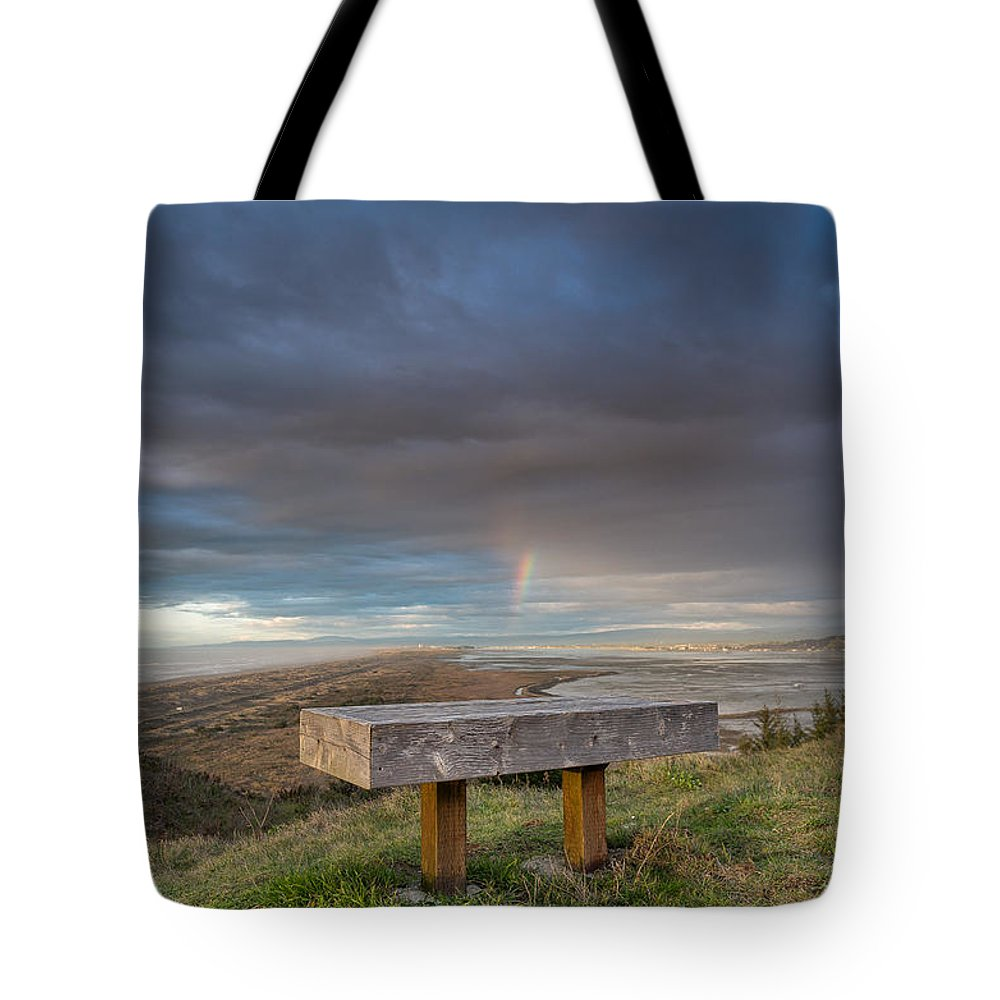 Humboldt Bay Tote Bag featuring the photograph Bench With A View by Greg Nyquist