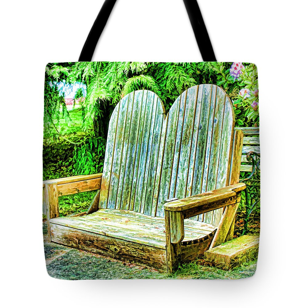 Bench Tote Bag featuring the digital art Benches II by Cathy Anderson