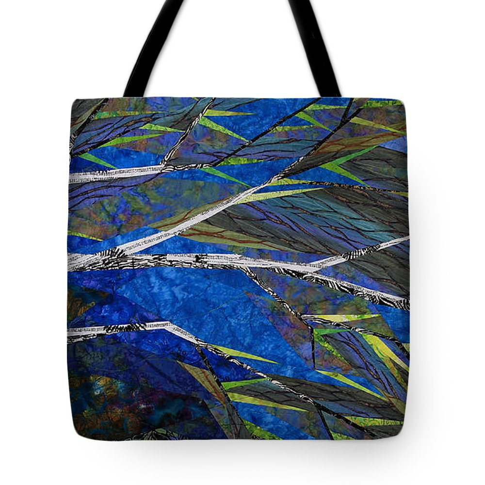 Tree Tote Bag featuring the tapestry - textile Bending Not Breaking by Linda Beach