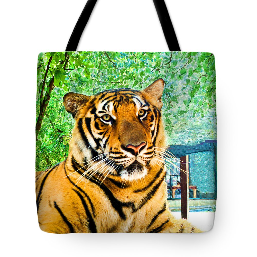 Bengal Tiger Tote Bag featuring the digital art Bengal Tiger Thailand by L J Oakes