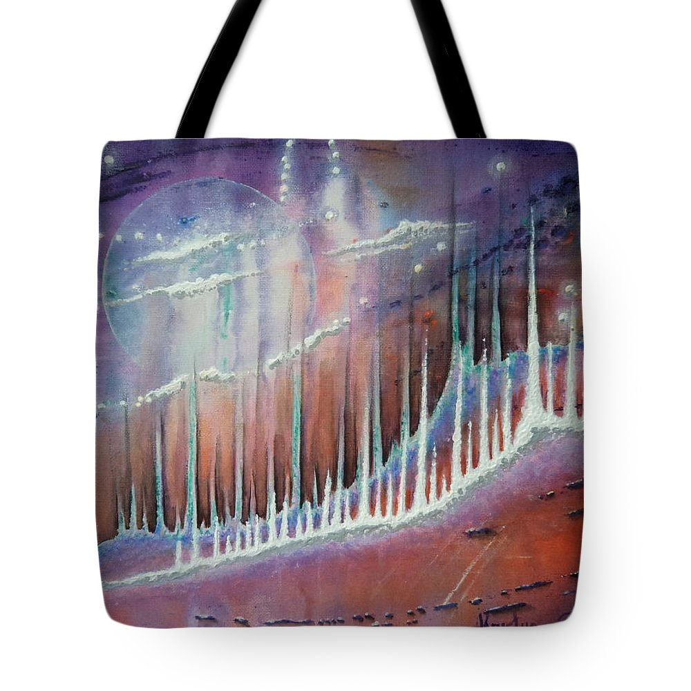 Space Tote Bag featuring the painting Bennu by Krystyna Spink
