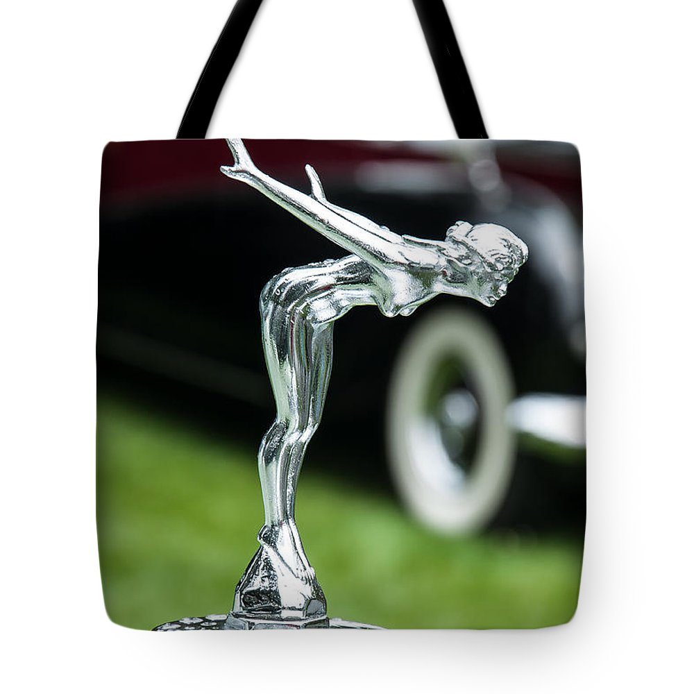 Bentley Car Tote Bag featuring the photograph Bentley Hood Ornament by Sabine Edrissi
