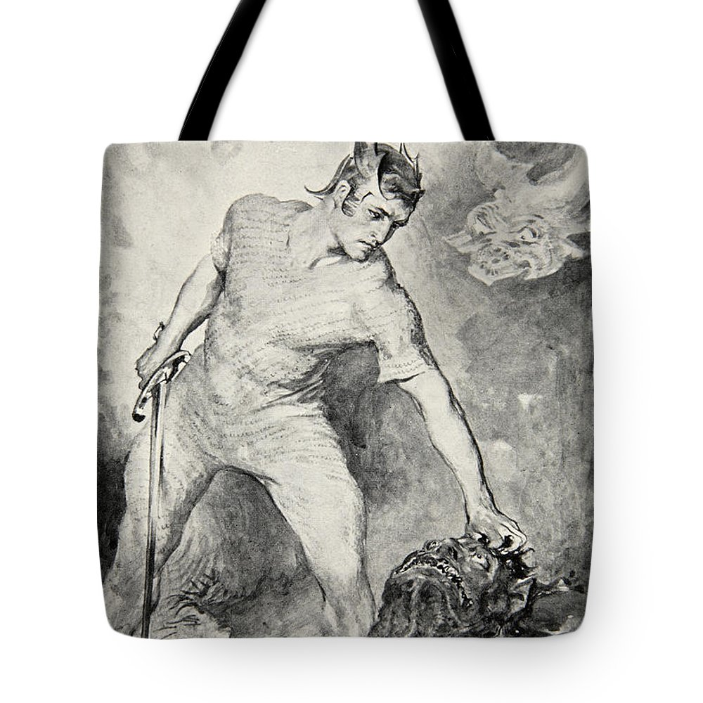 Beowulf Tote Bag featuring the drawing Beowulf Shears Off The Head Of Grendel by John Henry Frederick Bacon