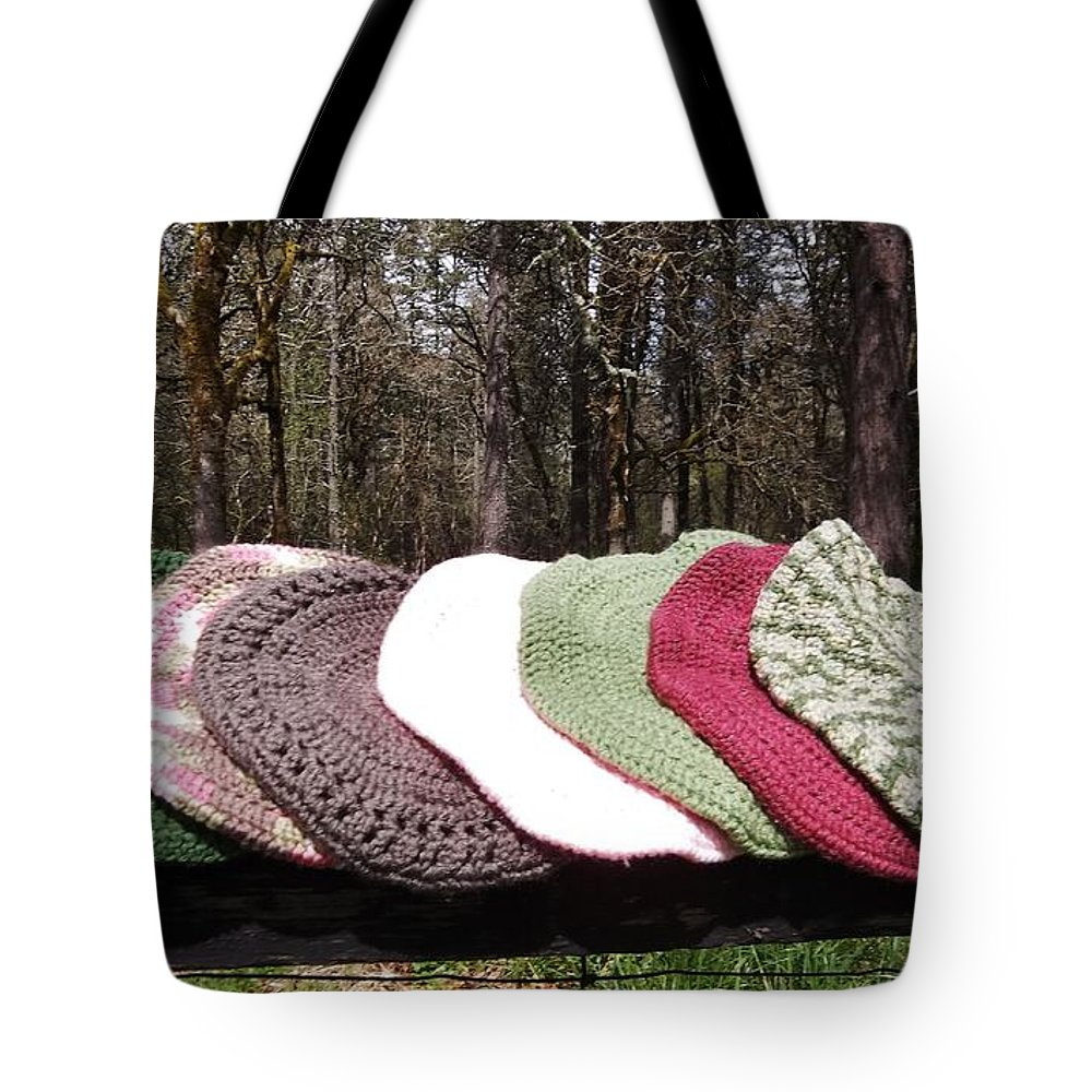 Crochet Tote Bag featuring the tapestry - textile Berets By V Lee by VLee Watson