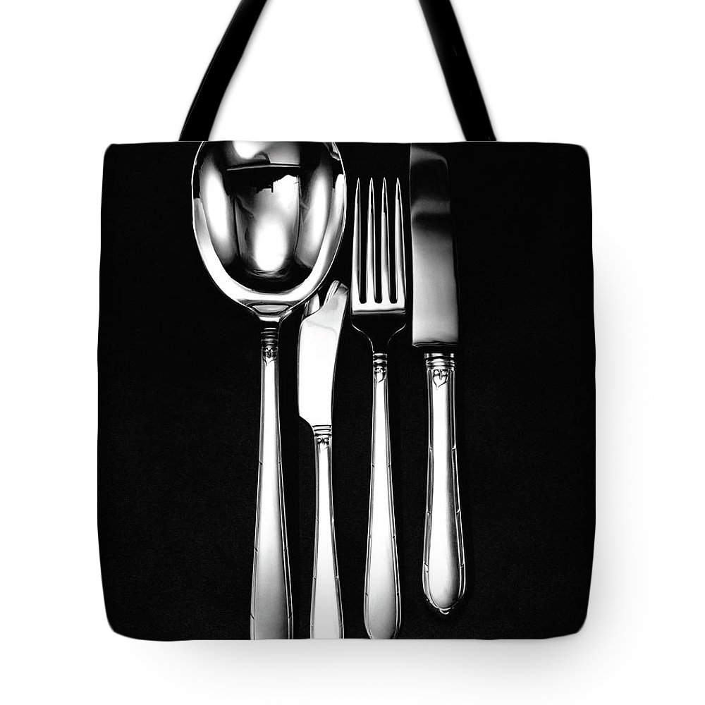 Home Accessories Tote Bag featuring the photograph Berkeley Square Silverware by Martin Bruehl