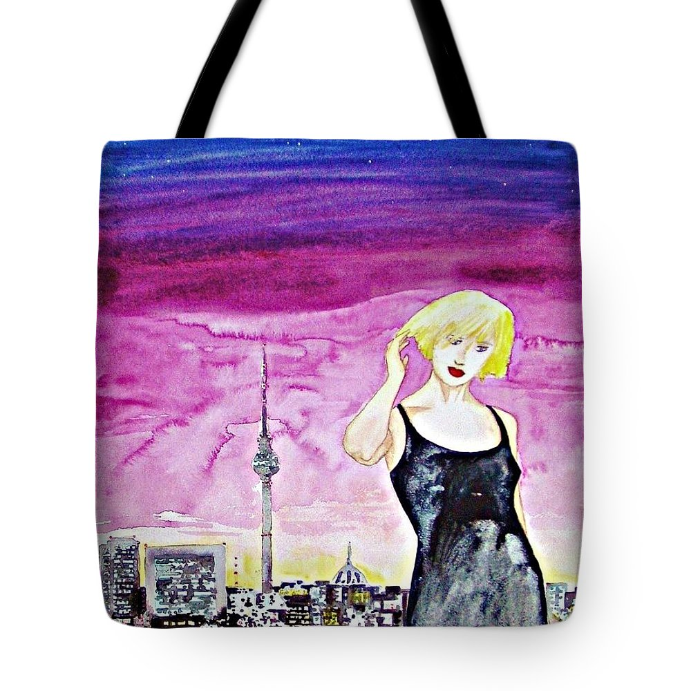 Berlin Cityscape Woman Germany Europe Blond Skyline Buildings Tote Bag featuring the painting Berlin 2009 by Ken Higgins