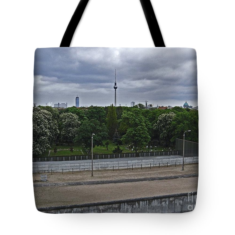 Berlin Tote Bag featuring the photograph Berlin Wall No Man's Land by Andy Prendy