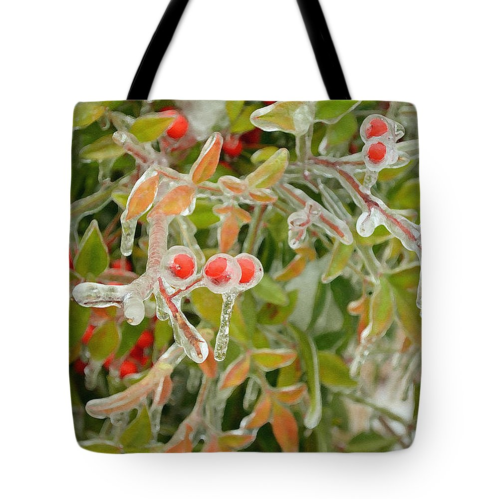 Nature Tote Bag featuring the digital art Winter Berries On Ice by Eva Kaufman