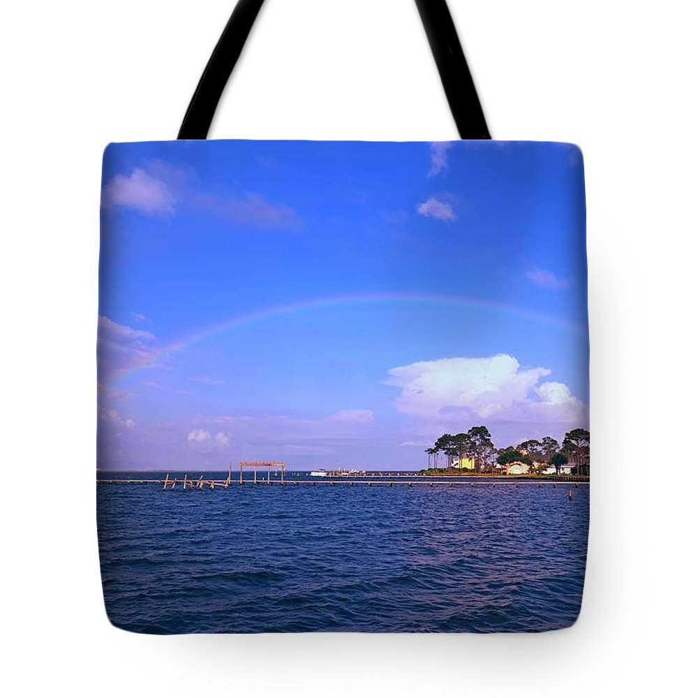 Rainbow Tote Bag featuring the photograph Best Complete Rainbow Over Santa Rosa Sound2 by Jeff at JSJ Photography