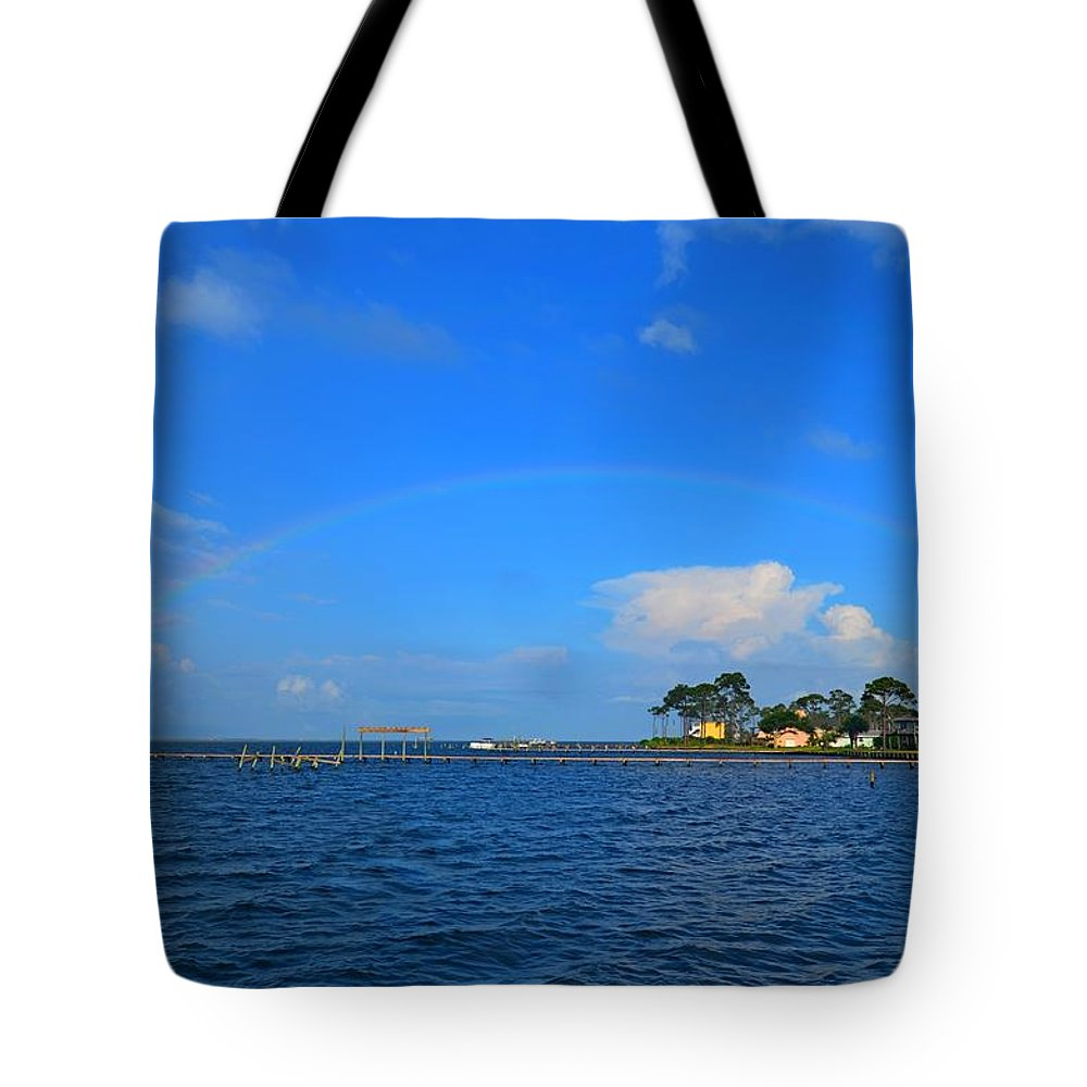 Rainbow Tote Bag featuring the photograph Best Complete Rainbow Over Santa Rosa Sound3 by Jeff at JSJ Photography