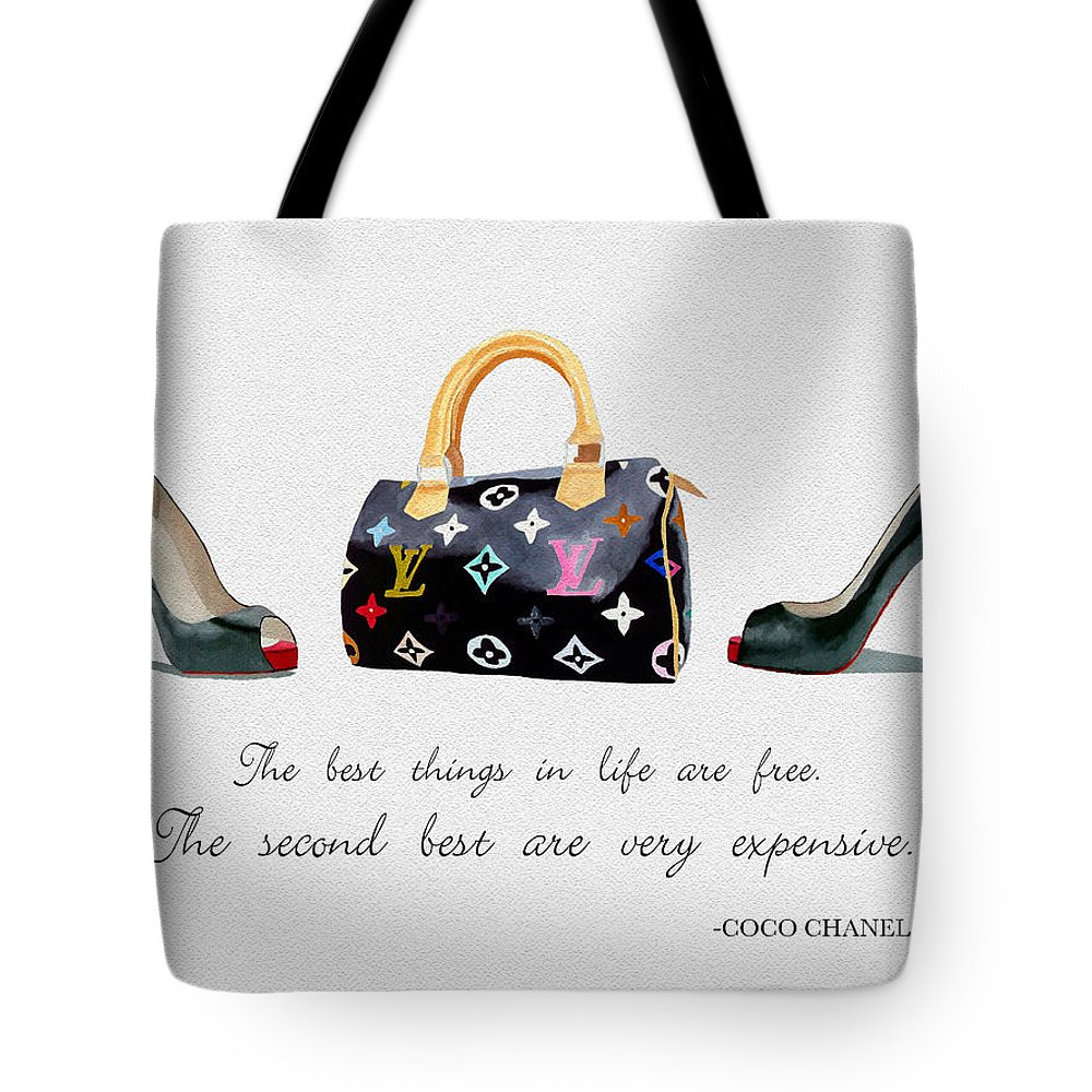 Christian Louboutin Tote Bag featuring the mixed media Best Things In Life 4 by My Inspiration
