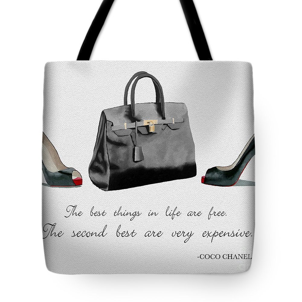 Christian Louboutin Tote Bag featuring the mixed media Best Things In Life by My Inspiration