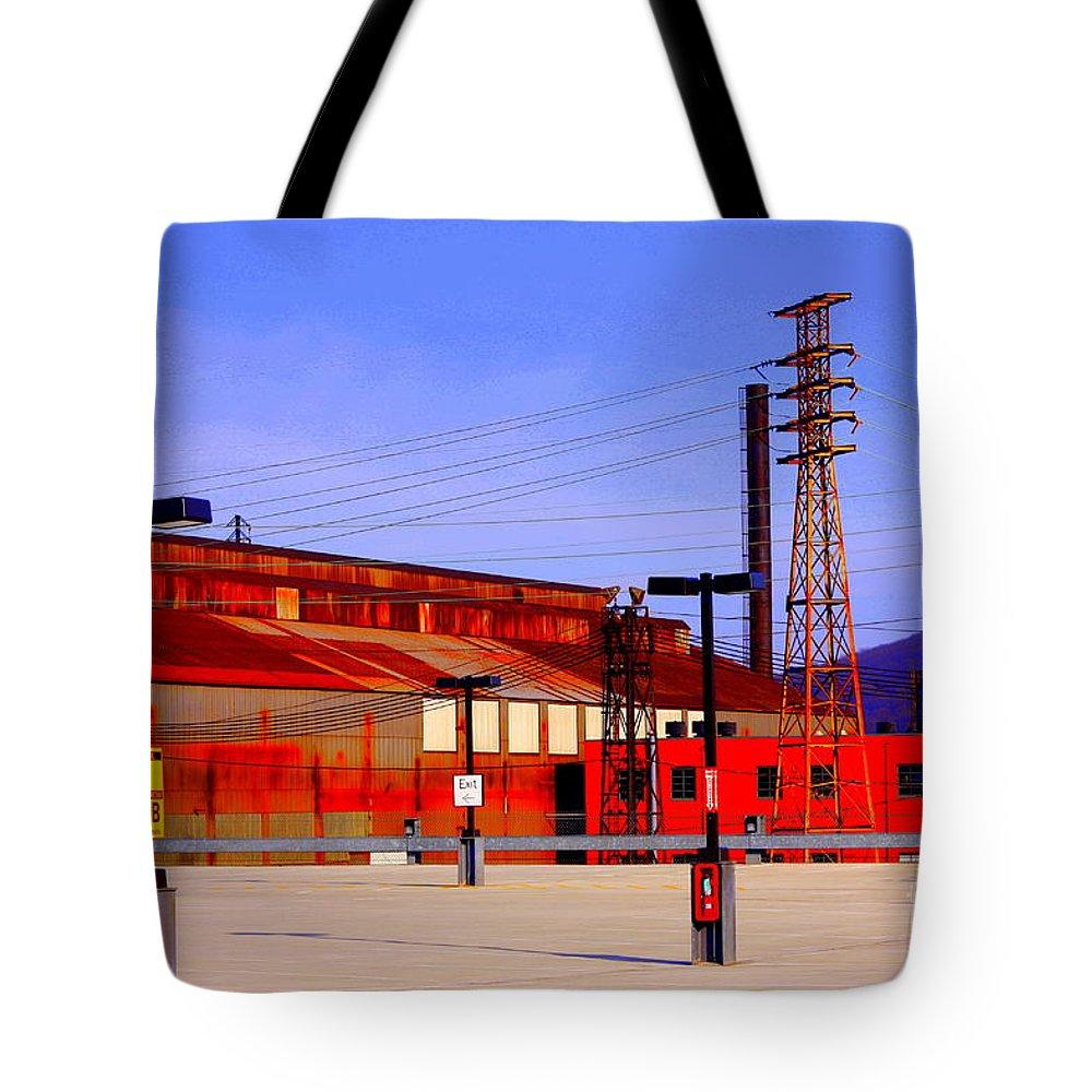 Marcia Lee Joneslandmark Tote Bag featuring the photograph Bethlehem Steel Buildings by Marcia Lee Jones