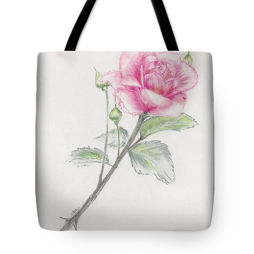 Rose Tote Bag featuring the pastel Betsy's Rose by Judith Rice