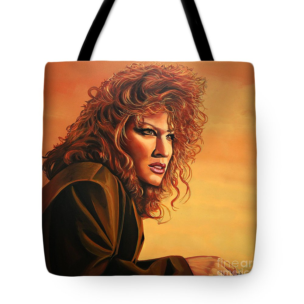 Bette Midler Tote Bag featuring the painting Bette Midler by Paul Meijering