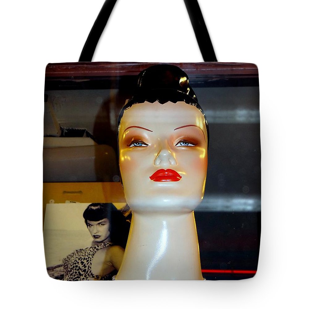 Mannequins Tote Bag featuring the photograph Bettie Page Lives by Ed Weidman