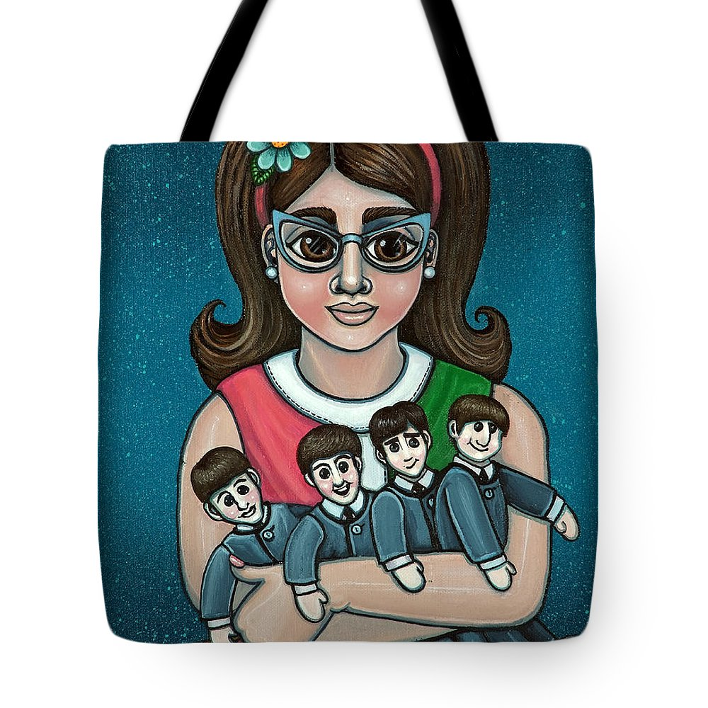1960 Tote Bag featuring the painting Betty Jeans BEATLES by Victoria Jones