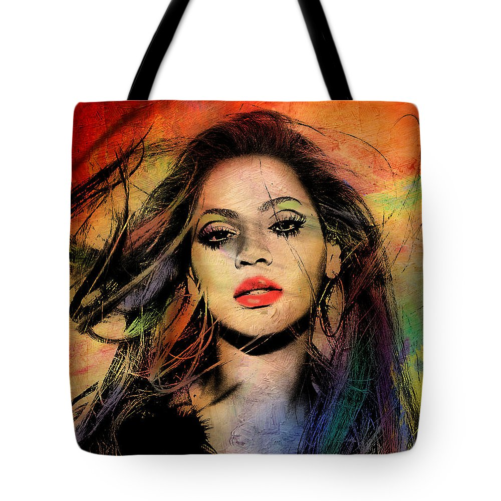 Beyonce Tote Bag featuring the painting Beyonce by Mark Ashkenazi