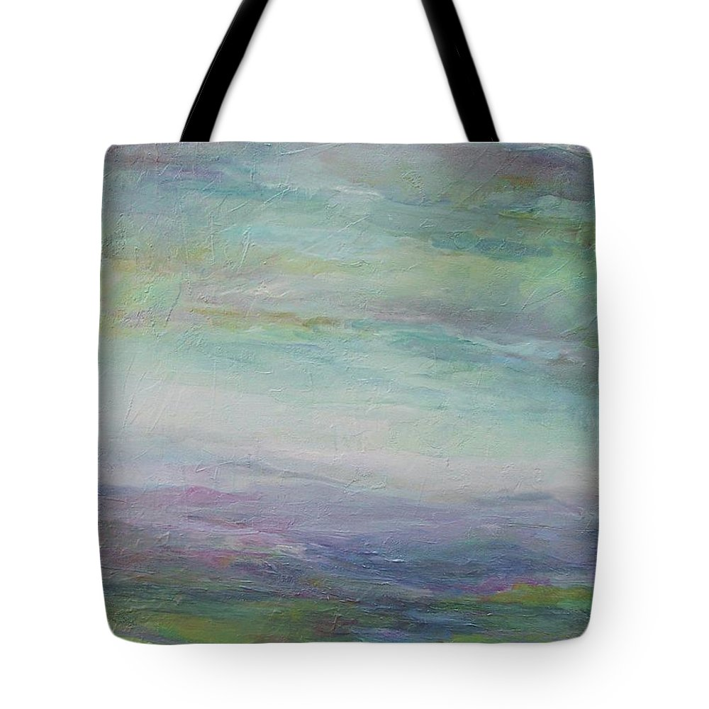 Landscape Tote Bag featuring the painting Beyond The Distant Hills by Mary Wolf