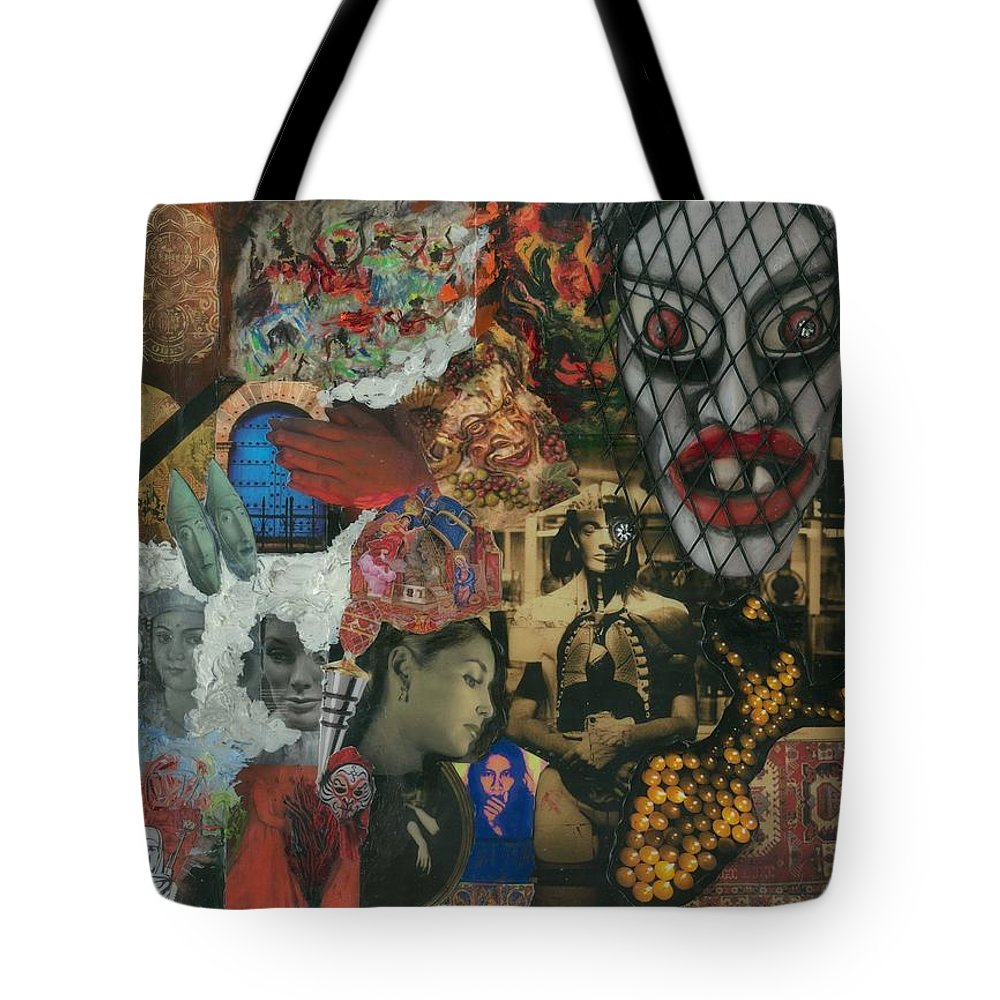 Women Tote Bag featuring the mixed media Beyond The Mask by Paula Emery