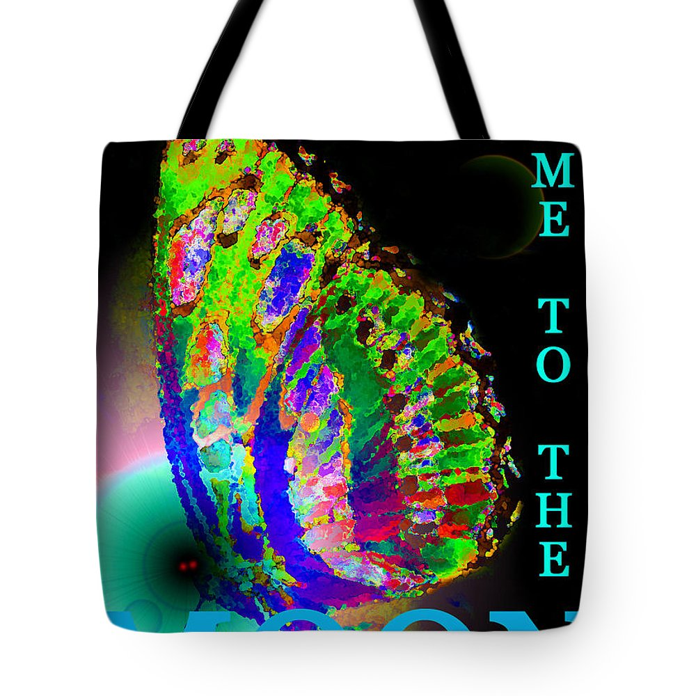 Butterfly Tote Bag featuring the painting Bfmttmoon Word Splash by David Lee Thompson