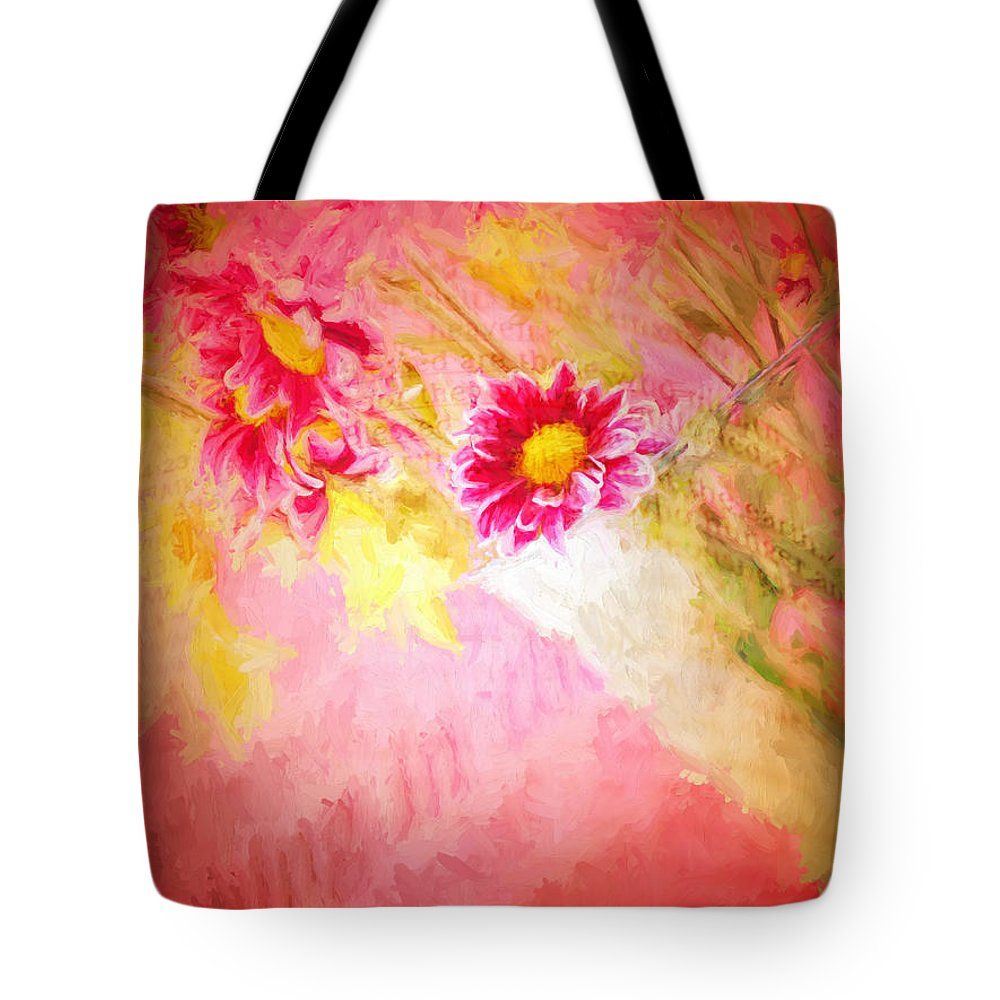 Floral Tote Bag featuring the digital art Bible Passages II by Tina Baxter