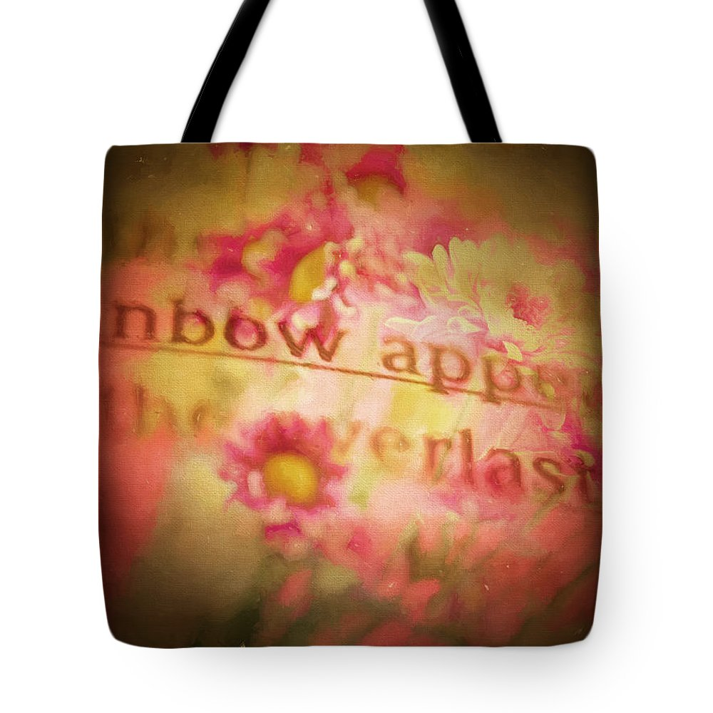 Floral Tote Bag featuring the digital art Bible Passages V by Tina Baxter
