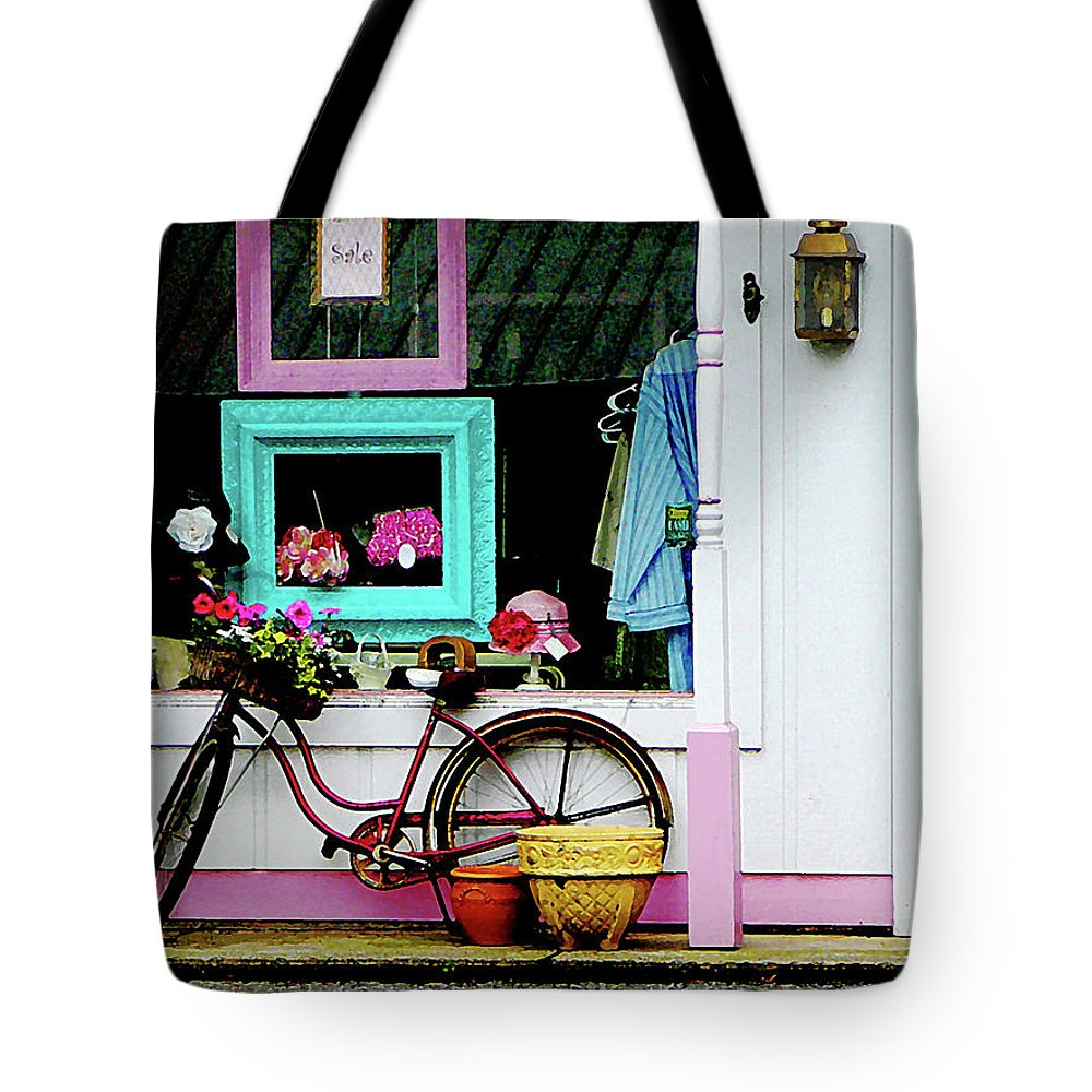 Bicycle Tote Bag featuring the photograph Bicycle By Antique Shop by Susan Savad
