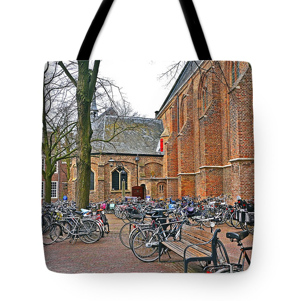 Travel Tote Bag featuring the photograph Bicycling To Church by Elvis Vaughn