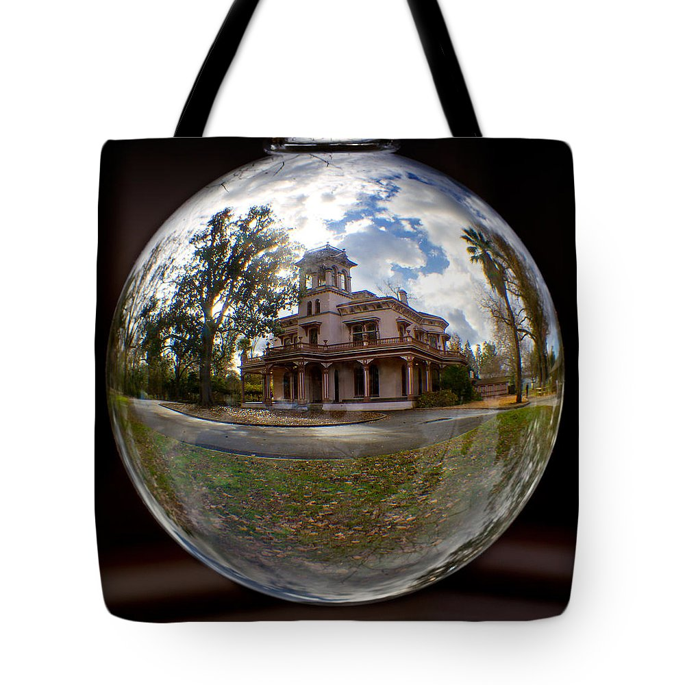 Bidwell Tote Bag featuring the photograph Bidwell Mansion Through A Glass Eye by Robert Woodward
