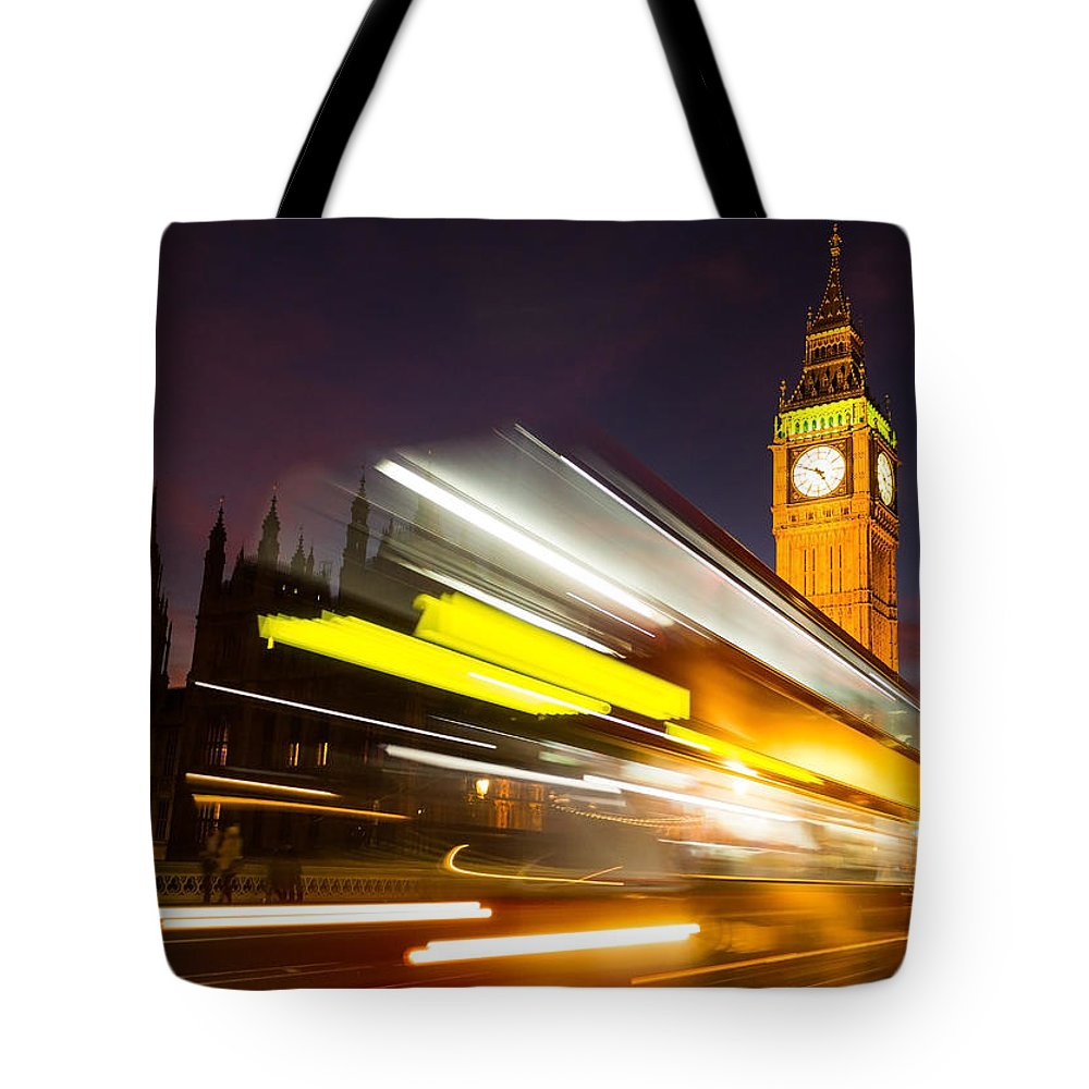 Elizabeth Tower Tote Bag featuring the photograph Big Ben And A Bus Trail by Travel and Destinations - By Mike Clegg