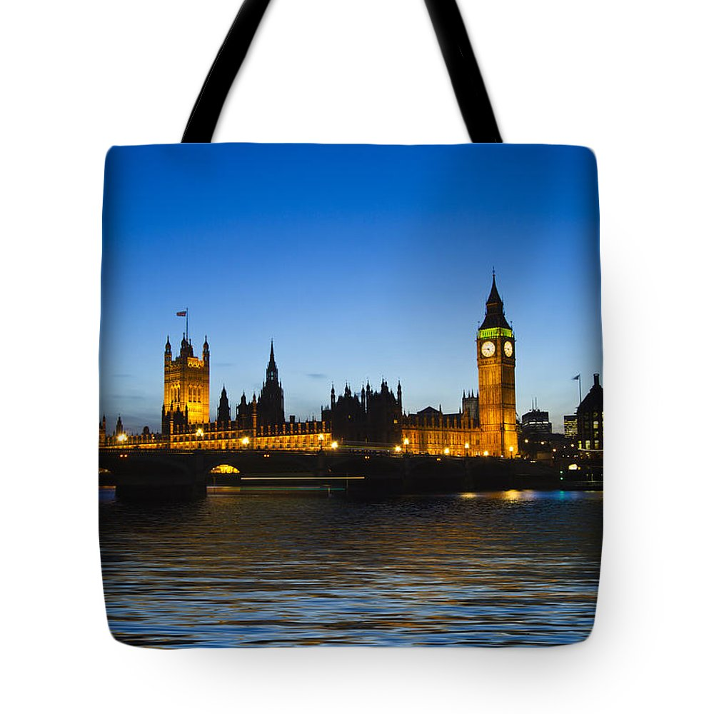 Westminster Bridge Thames Tote Bag featuring the photograph Big Ben And The Houses Of Parliament  by David French