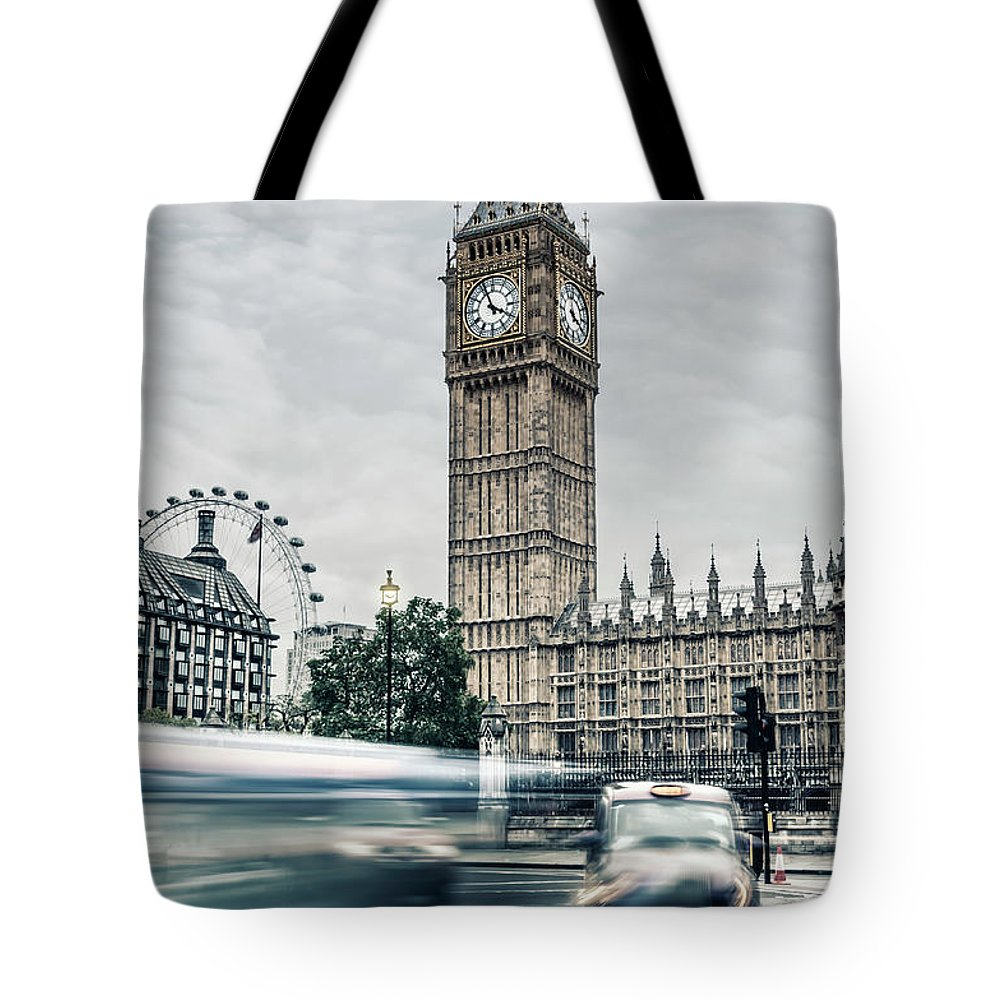 Gothic Style Tote Bag featuring the photograph Big Ben At Dusk With Passing Traffic - by Alpamayophoto
