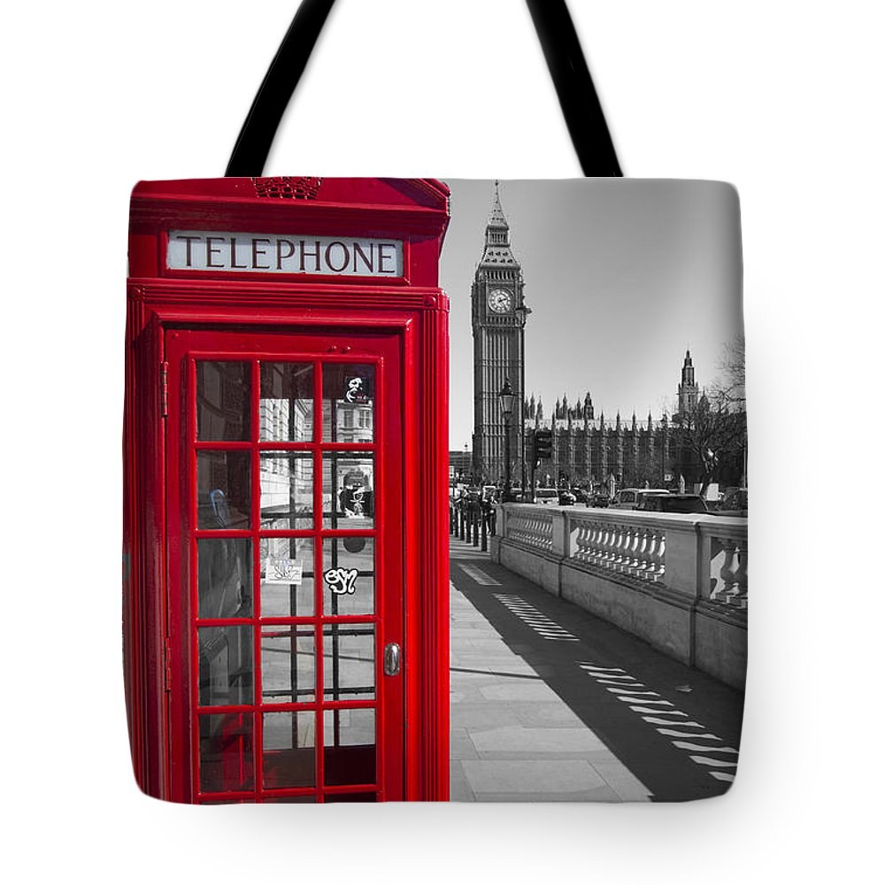 Westminster Tote Bag featuring the photograph Big Ben Red Telephone Box by David French