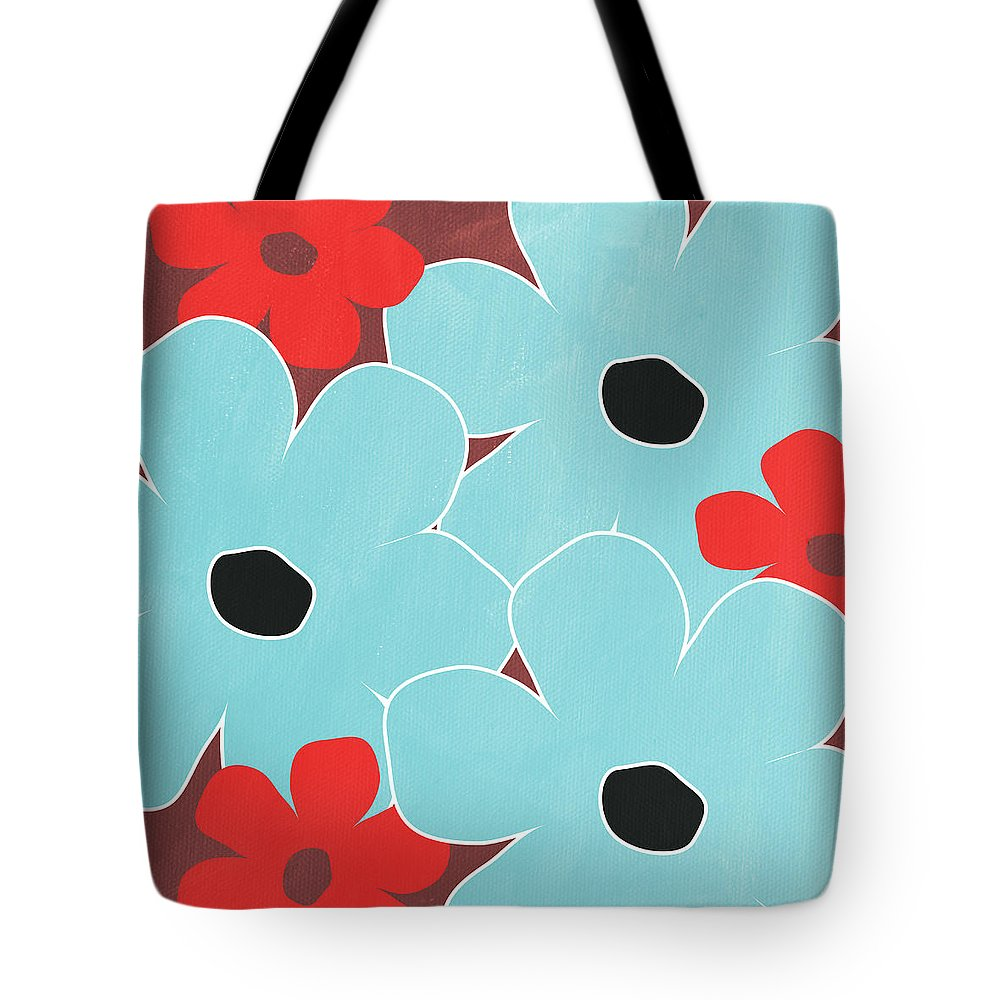 Blue Floral Mixed Media Tote Bags
