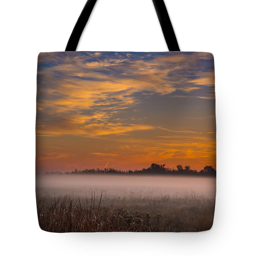 Landscape Tote Bag featuring the photograph Big Break Ground Fog by Marc Crumpler