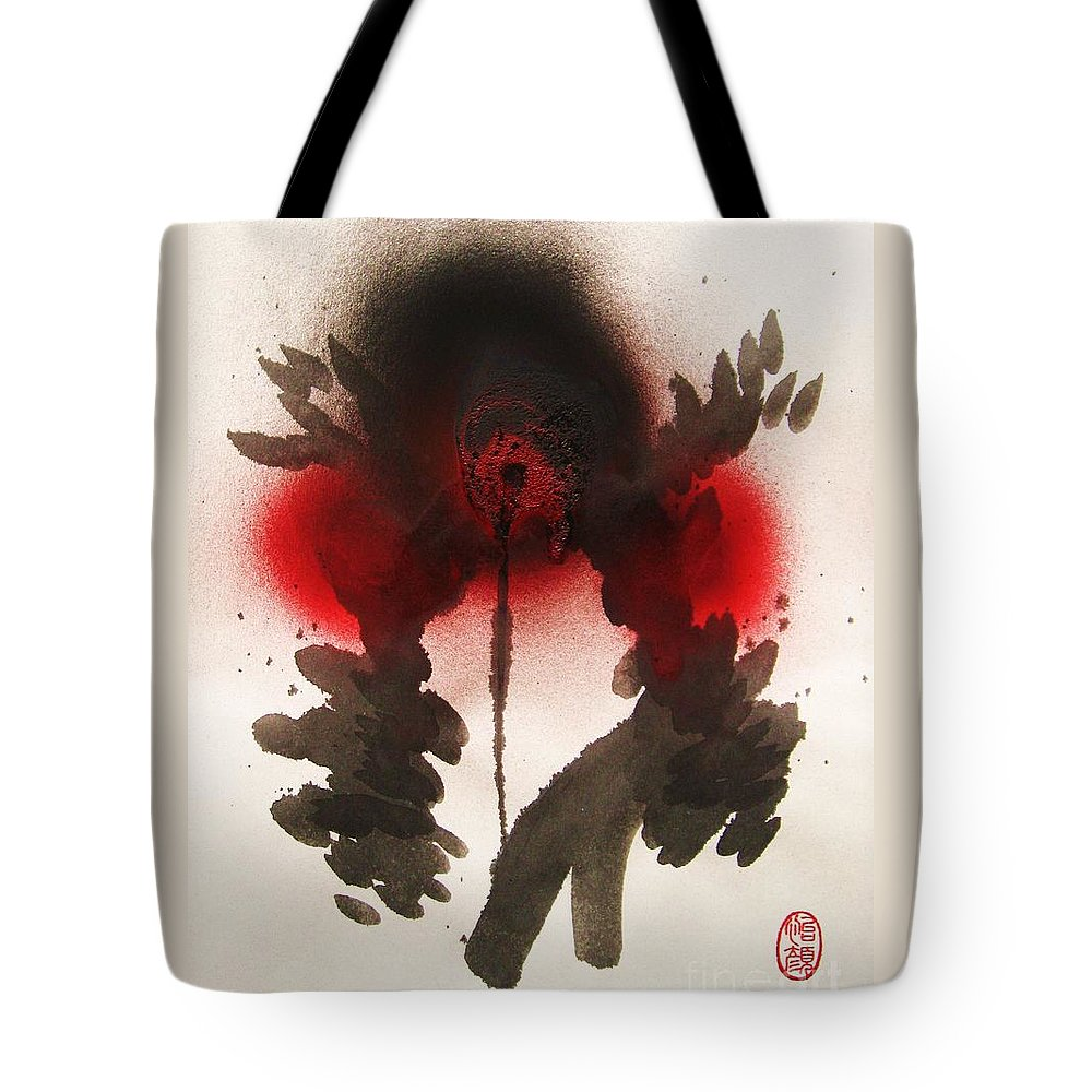 Original Tote Bag featuring the painting Big Crow Black And Spiky by Roberto Prusso