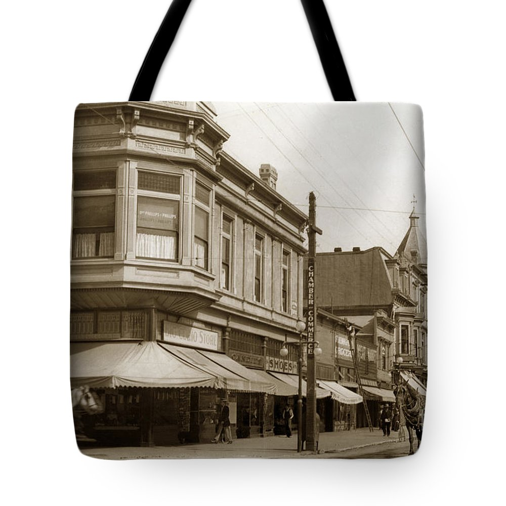 Big Curio Store Tote Bag featuring the photograph Big Curio Store Santa Cruz At 28 Pacific Avenue On The Corner Of Lincoln And Pacific. 1908 by California Views Archives Mr Pat Hathaway Archives