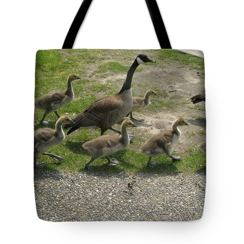 Goose Tote Bag featuring the photograph Big Family Crossing The Road by Lena Photo Art