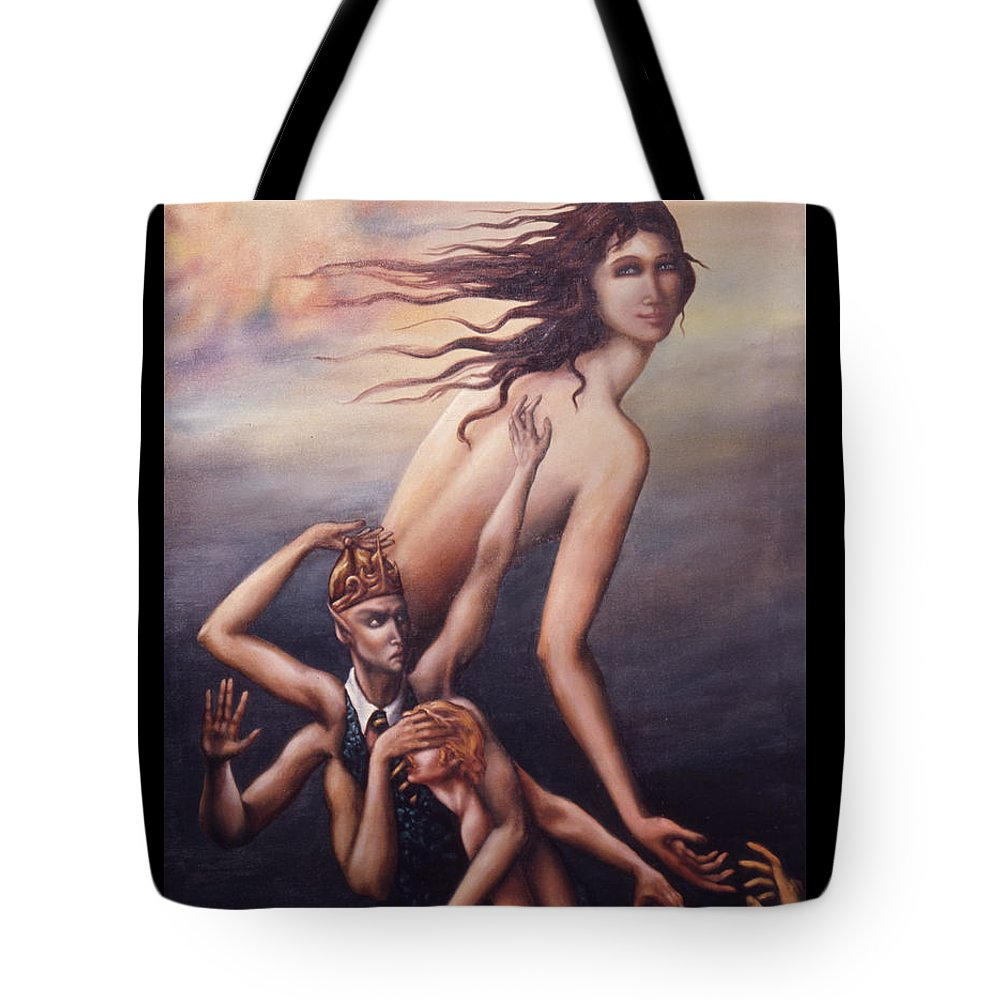 Three Arms Tote Bag featuring the painting Big Government by Jane Whiting Chrzanoska