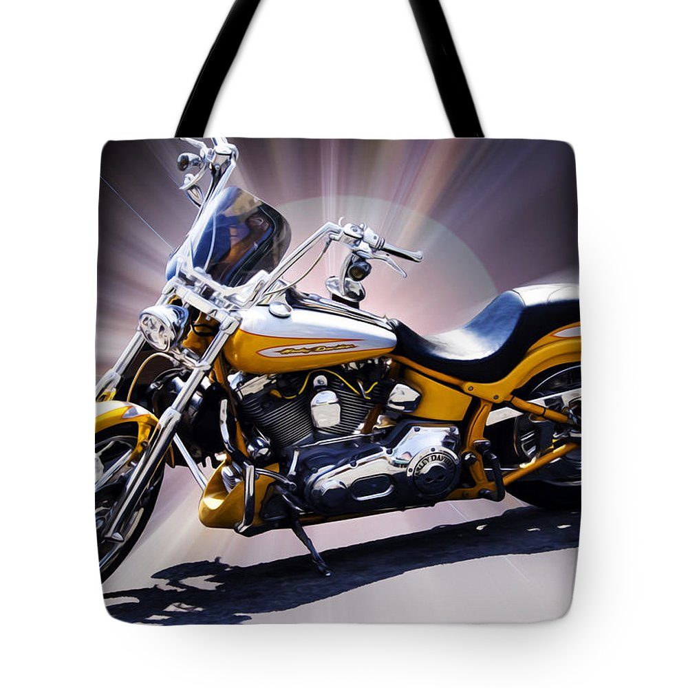 Motorcycle Tote Bag featuring the photograph Big Hog by Hal Halli