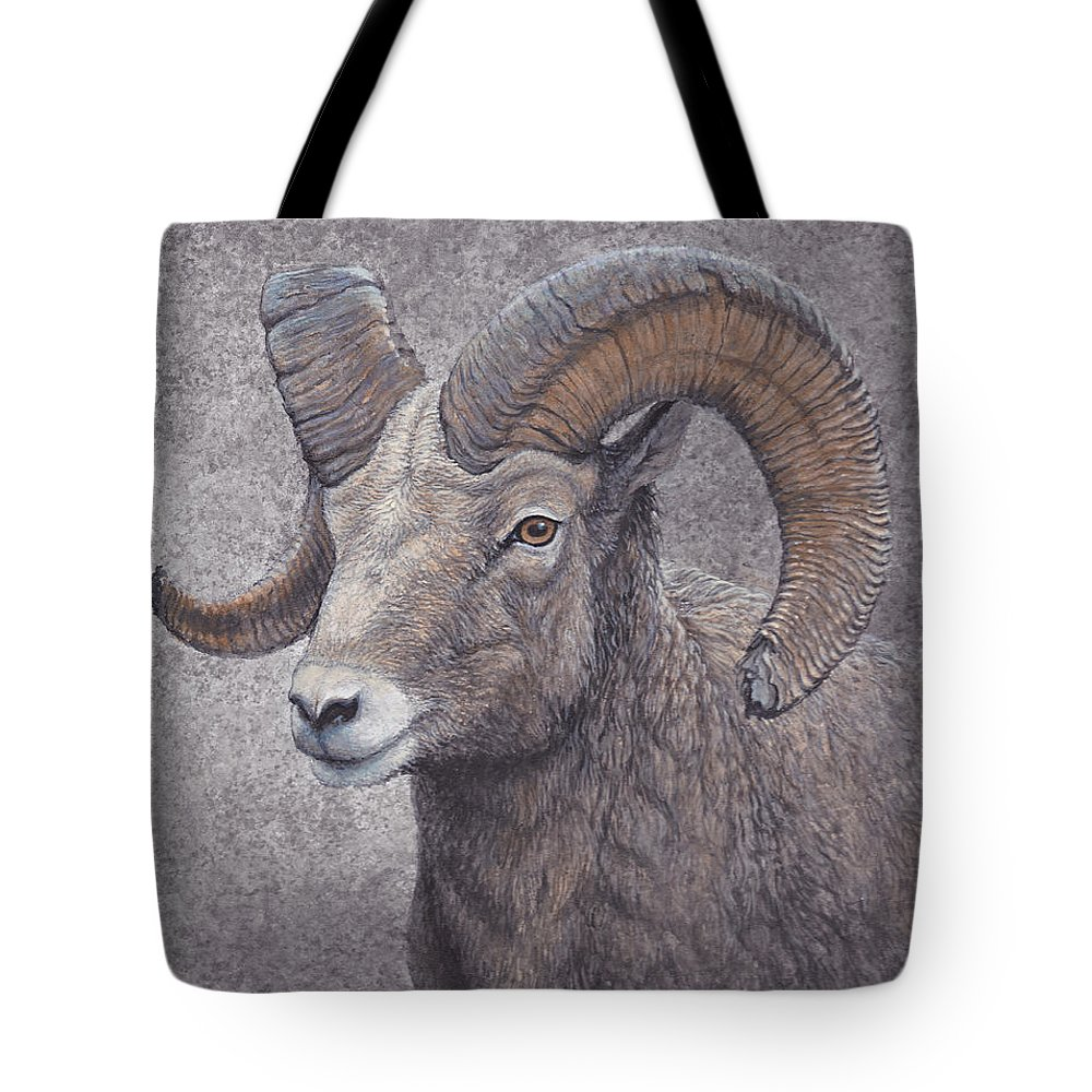 Wildlife Tote Bag featuring the painting Big Horn Ram by Mike Stinnett